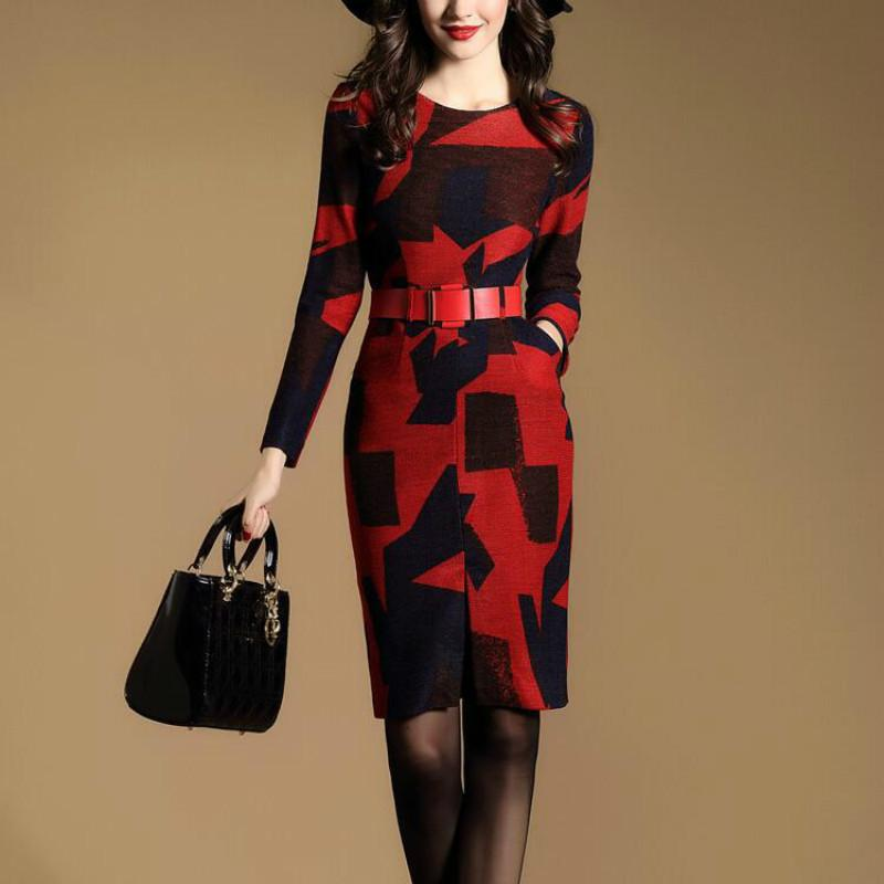 H 2018 Trendy Social Office Dress Knitted Warm Dress Midi Bodycon Dress  Noodles Luxury Women Clothes Autumn Winter Red XXL D18102902 From Tai01 a1c1ebc48620