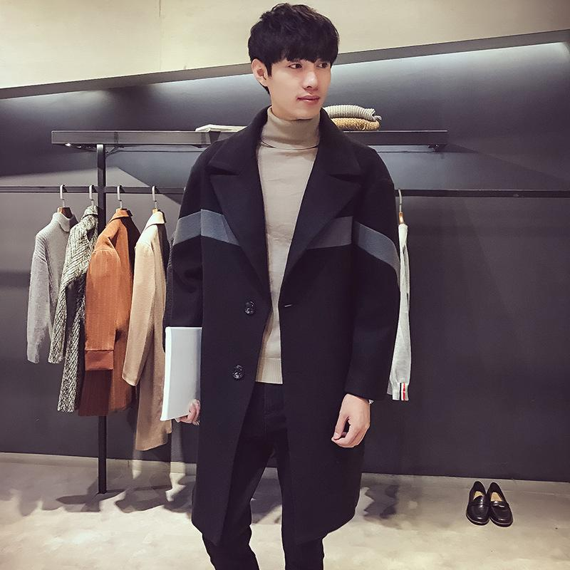 Turn Down Collar Pockets Mens Coats 2018 Winter Long Sleeve Patchwork Wool Blend Coat and Jacket Slim Male Coats