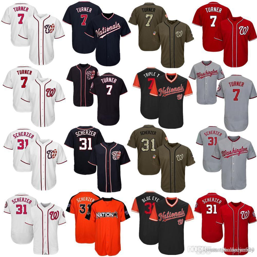 timeless design b70e2 9db33 Men Women Youth Nationals Jersey 7 Turner 31 Scherzer Baseball Jersey White  Gray Grey Red Navy Salute to Service Players Weekend All Star