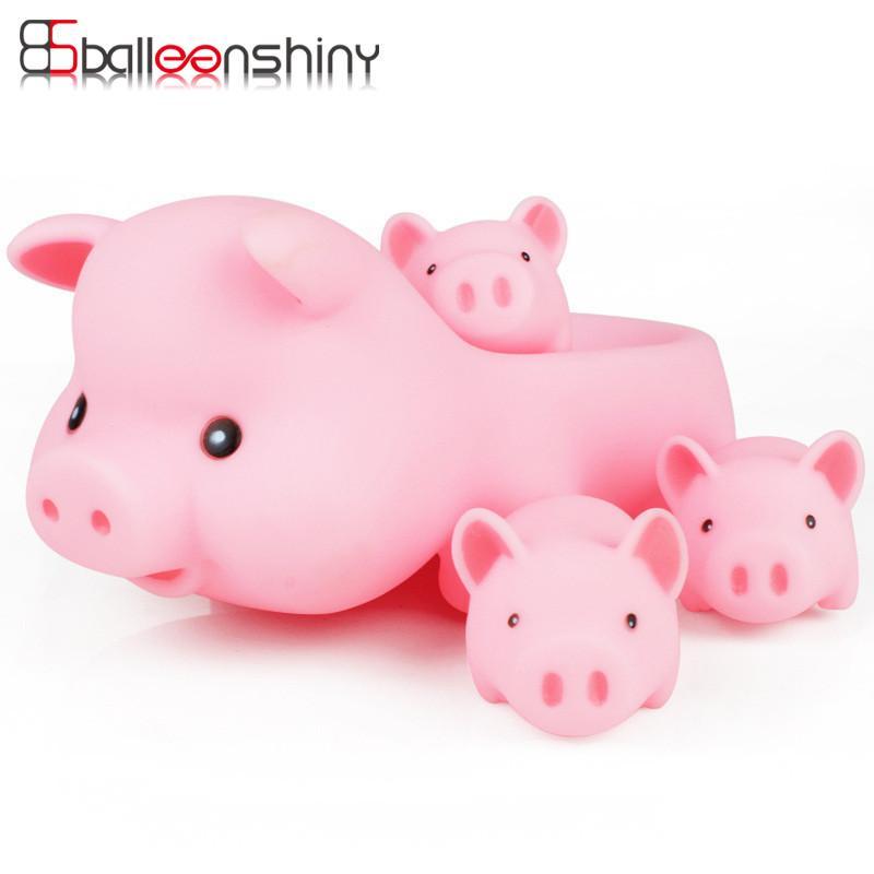 2018 Balleenshiny Baby Bath Toys Cute Cartoon Animals Pink Pigs ...
