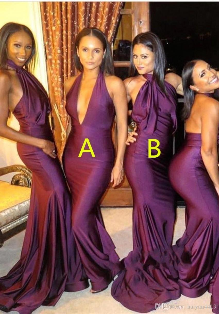 7038c6ddb2d 2018 African Grape Bridesmaid Dresses Deep V Neck Halter Neck Backless  Mermaid Long Satin Black Girls Sexy Maid Of Honor Gowns Wedding Guest Cheap  ...