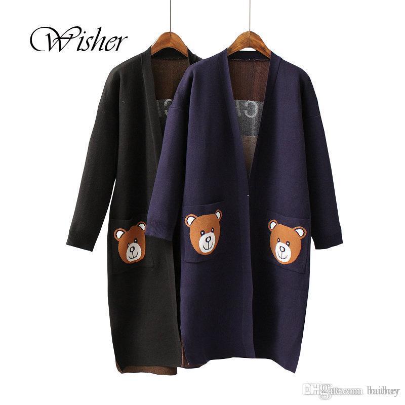 3049b76972d 2019 Wholesale 2016 Fashion Winter Sweater Women Thick Long Cardigan Bear  Knitted Women Plus Size Poncho Women Cape Poncho Feminino Inverno From  Baiboy