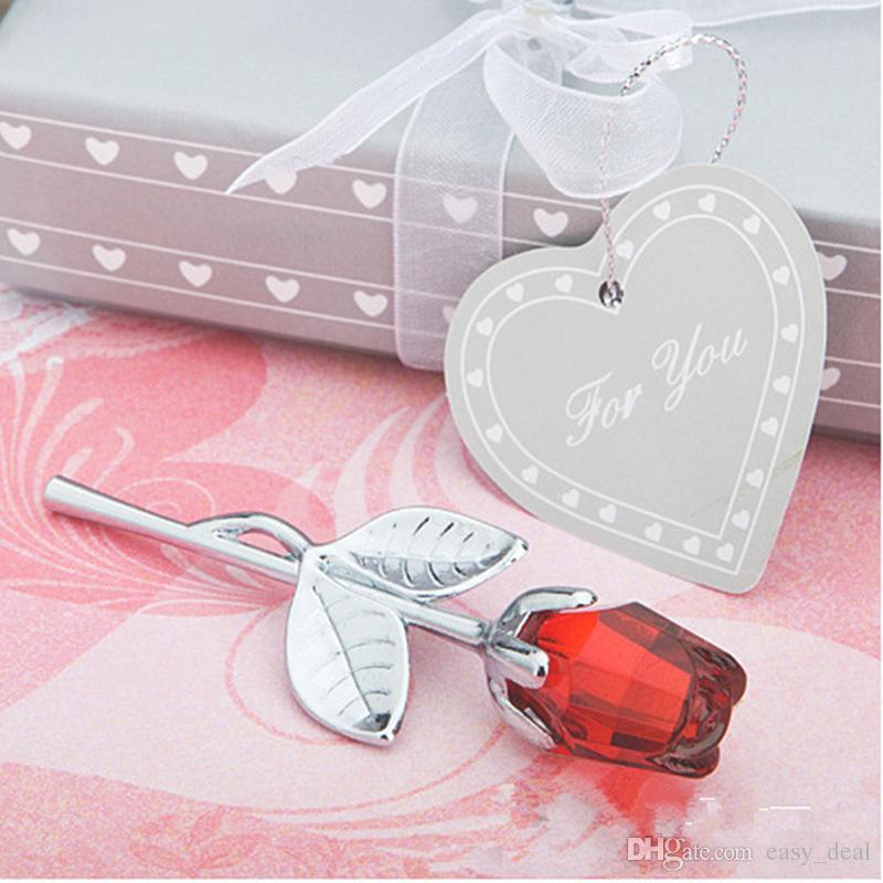 Düğün Iyilik ve Hediyeler Geri Hediyeler için Konuklar için Kristal Kırmızı Gül Uzun Kök Gül Kız Doğum Günü Hediye F20172925 Hediyeler
