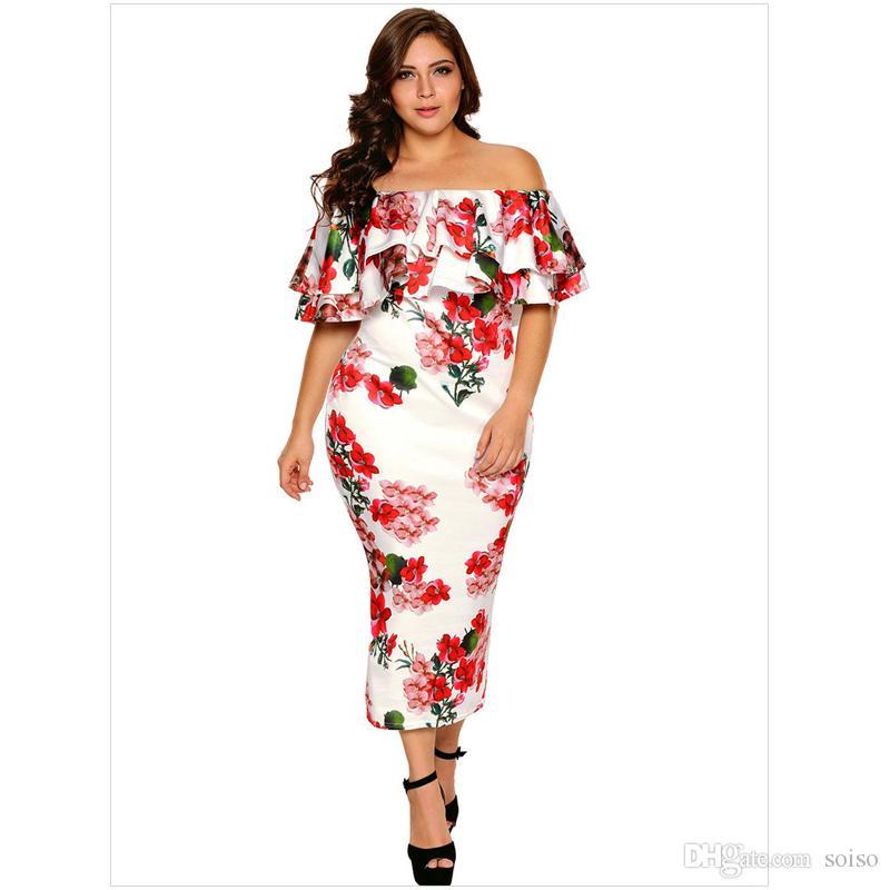 2018 Autumn Large Size Fat Women s Dress Floral Print Sexy One ... d0b5e5372e25