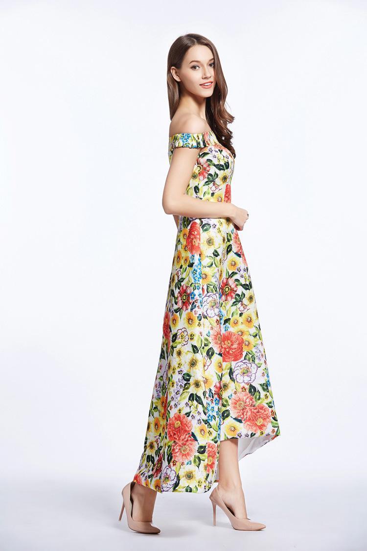 New Arrival 2018 Women's Sash Neckline Sexy Off the Shoulder Floral Printed Dobby Hi Low Fashion Summer Long Dresses Designer Casual Dresses
