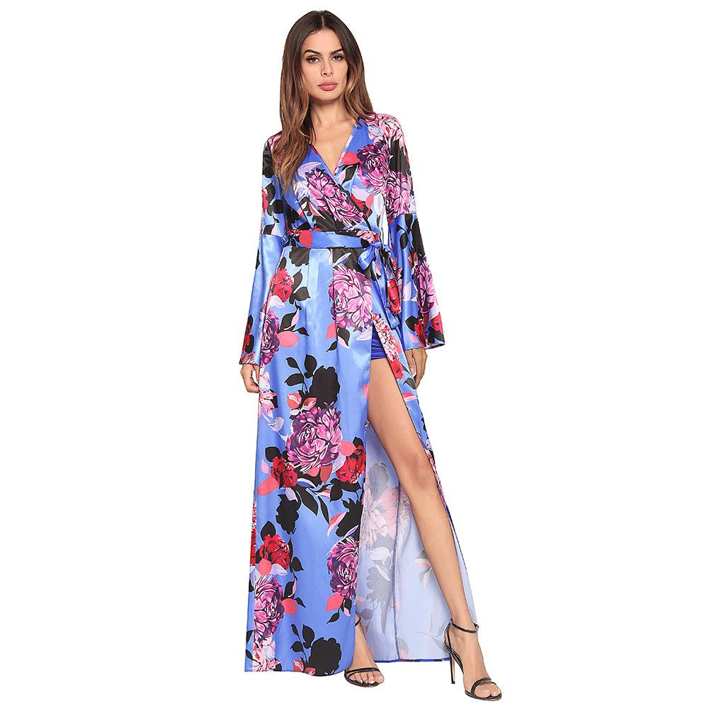 dffa0b840f66b Promotion 2018 Horn Sleeve Irregular Vent Longuette Printing V Lead Sexy  Dress fashions clothing ladies dresses for woman women clothes