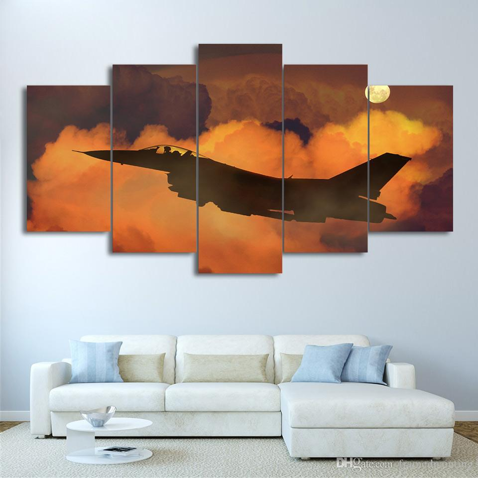 HD Printed Canvas Art Airplane in Clouds Canvas Painting Wall Pictures for Living Room Home Decor
