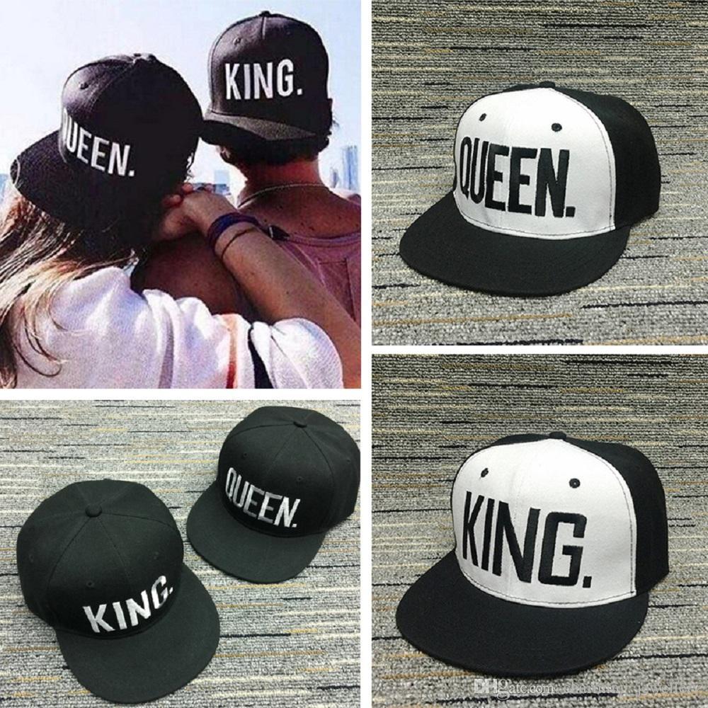 fd52fda2478 KING QUEEN Baseball Cap Snapback Men Women Visor Caps Dad Bone White Black  Couple Lover Hip Hop Sport Gorras Casquette Hats 59fifty Snapback Cap From  ...