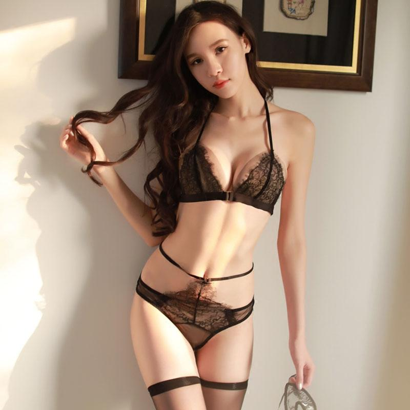350c1a34202a0 2019 Black Summer Erotic Women Underwear Set Ultra Thin Push Up Front  Closure Bra High Waist Panties Lace Mesh Sexy Lingerie Sets From  Clothesg202