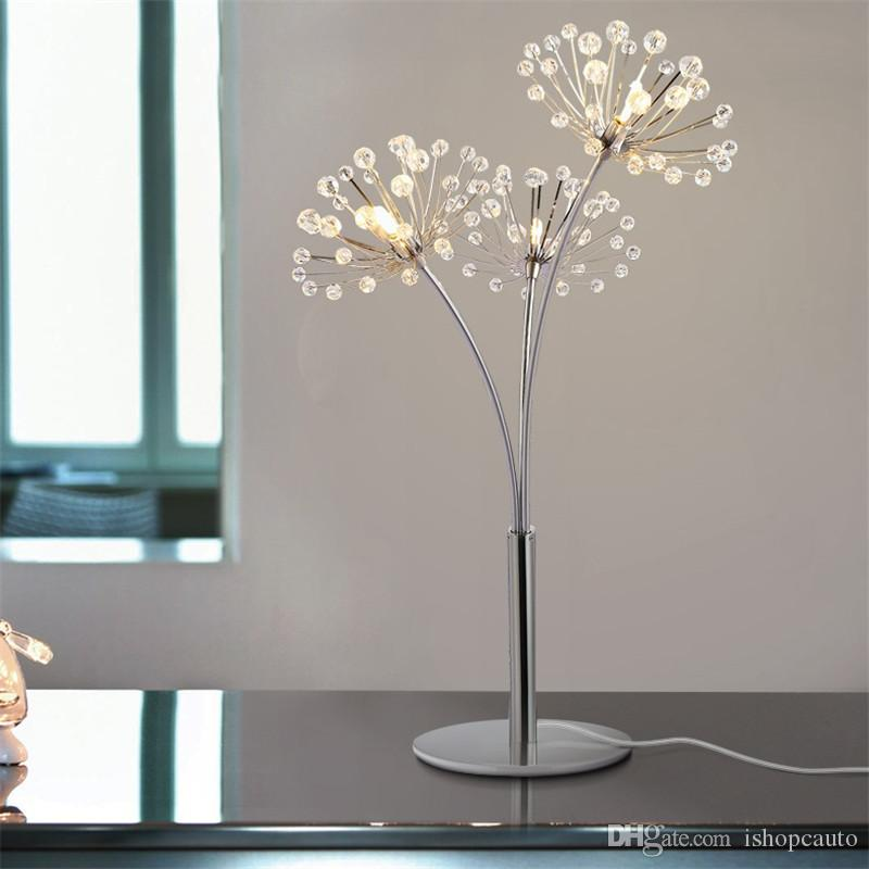 Simple modern crystal Dandelion table lamp luxury light creative bedroom bedside lamp marriage wedding room decoration table lamp