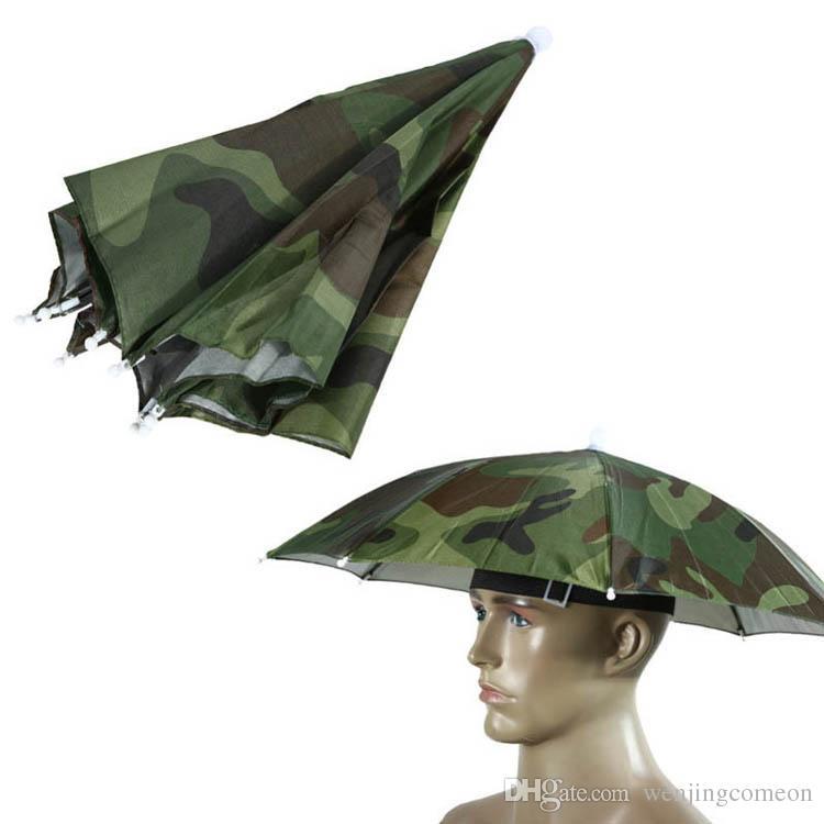 Camouflage Foldable Headwear Sun Umbrella Fishing Hiking Beach Camping Headwear Cap Head Hats Outdoor Sport Umbrella Hat Cap