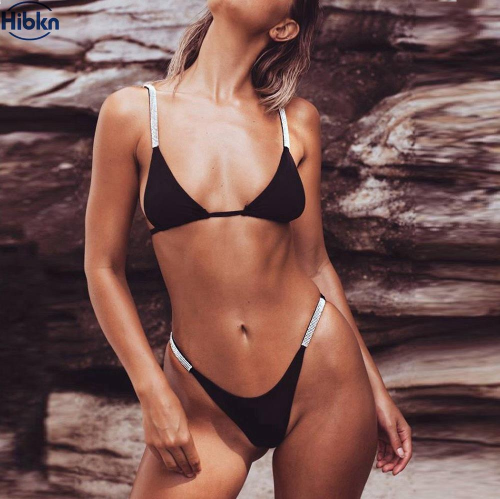 359a548e87f59 Solid Micro Bikini Brazilian Twinkling Sequins Bikini Cheeky Black Swimsuit  High Cut Swimwear Women Sequin Swimsuits Female Online with  26.69 Set on  ...