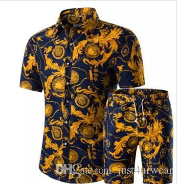 7c1693ddcc1 2019 Mens Floral Pint Button Cardigan Tshirt Shorts Sets Hawaiian Short  Sleeved Tees Casual Outfits Summer Fashion Suits Plus Size From  Just4urwear