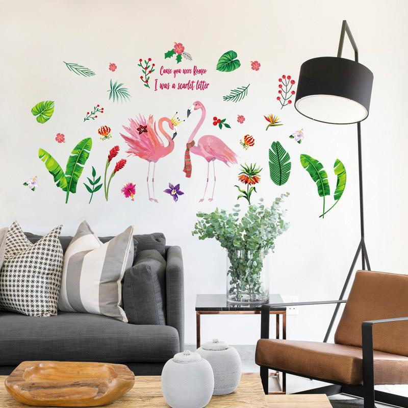 green leaf flamingos wall sticker diy art wall decoration pvc baby