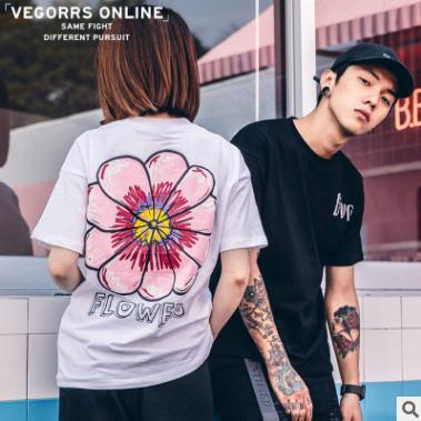 9ea544ab2ba48 2018 Summer Mens Womens T Shirts Designer Trend Big Flower Simple Print  Slim Short Sleeved Tee Couple T Shirt Casual Tees Tops 10 T Shirt Awesome T  Shirts ...