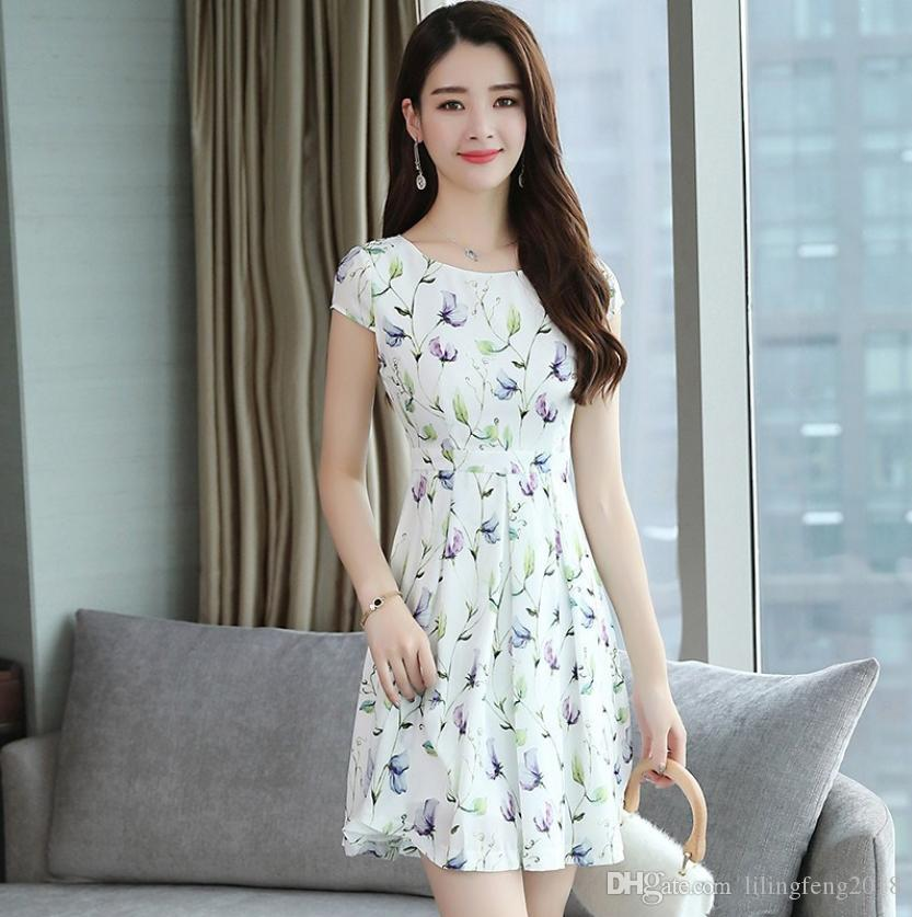 44421f11906d Women'S Fashion Dress Printer Summer Dress Flora Printed Dresses Women'S  Dress Knee Length Skirt Woman Casual Dresses Cheap Formal Dresses Dress  Designs .