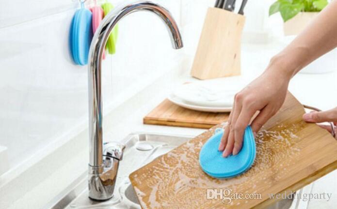20 adet Mutfak Silikon Bulaşık Scrubber Fırça Pad Pot Tava Bulaşık Süngeri Faydalı Sihirli Silikon Çanak Kase Temizleme Fırçaları