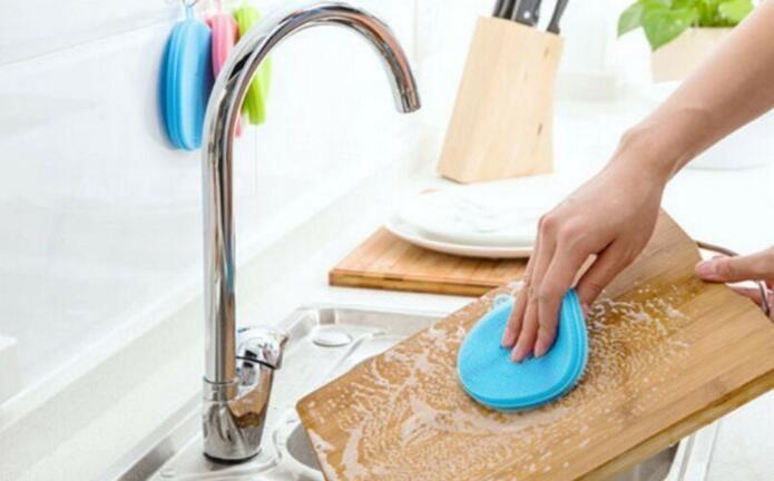 Cozinha Silicone Dish Scrubber Escova Pad Pot Pan Dishwashing Esponja Útil Magia Prato Silicone Tigela Escovas De Limpeza