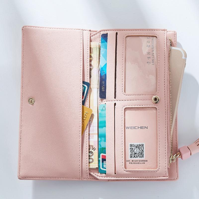 Большая емкость женщины кошельки дамы сцепления женская мода кожаные сумки ID держатели карт сотовый телефон наличные кошелек дамы кошельки bolsas