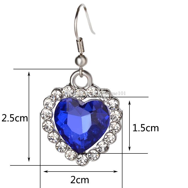 Austrian crystal Heart of ocean jewelry sets white Rhinestones blue gemstone necklaces and earring set For women&ladies Fashion accessories