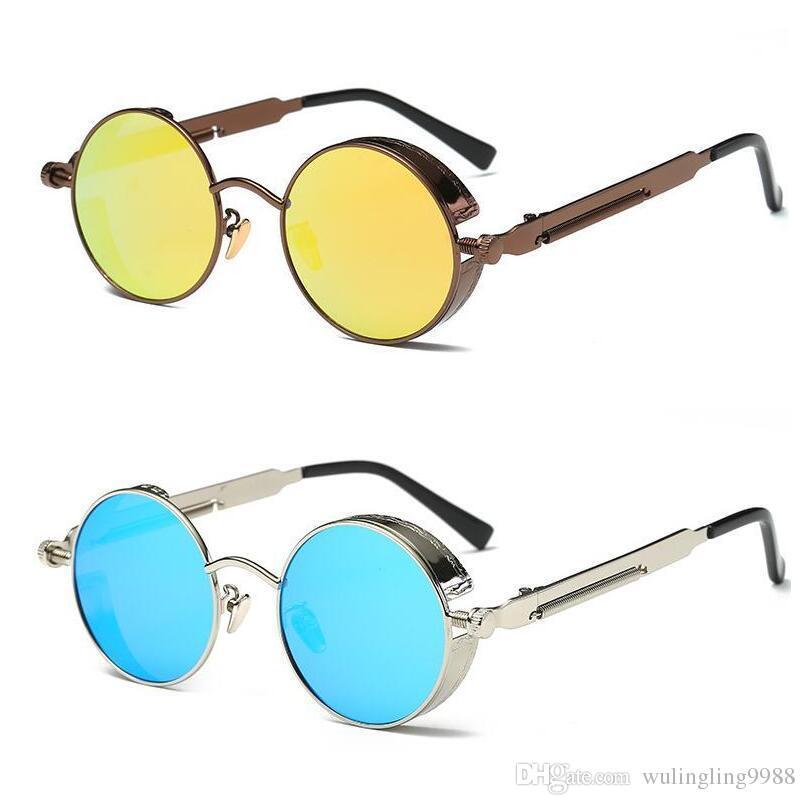 db3e03865f2a7 Compre UV400 Gótico Steampunk Mens Óculos De Sol Revestimento Espelhado  Óculos De Sol Redondo Círculo Óculos De Sol Retro Vintage Gafas Masculino  Sol De ...