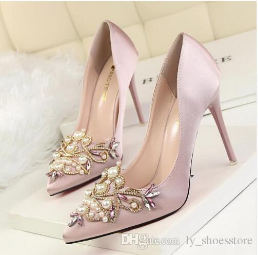 Women Pumps High Heel 2018 Bridal White Wedding Shoes Rhinestone Crystal  Shallow Fashion Faux Silk Satin Stiletto Mens Loafers Formal Shoes For Men  From ... e8ca8262ad91