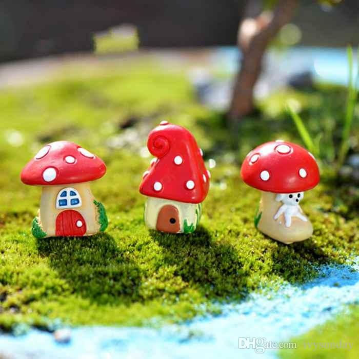 Cartoon Mushroom House Vaso per piante Materiale bonsai Moss Terrarium Ornamenti Micro Landscape Accessori Fairy Garden Desktop DIY ZAKKA