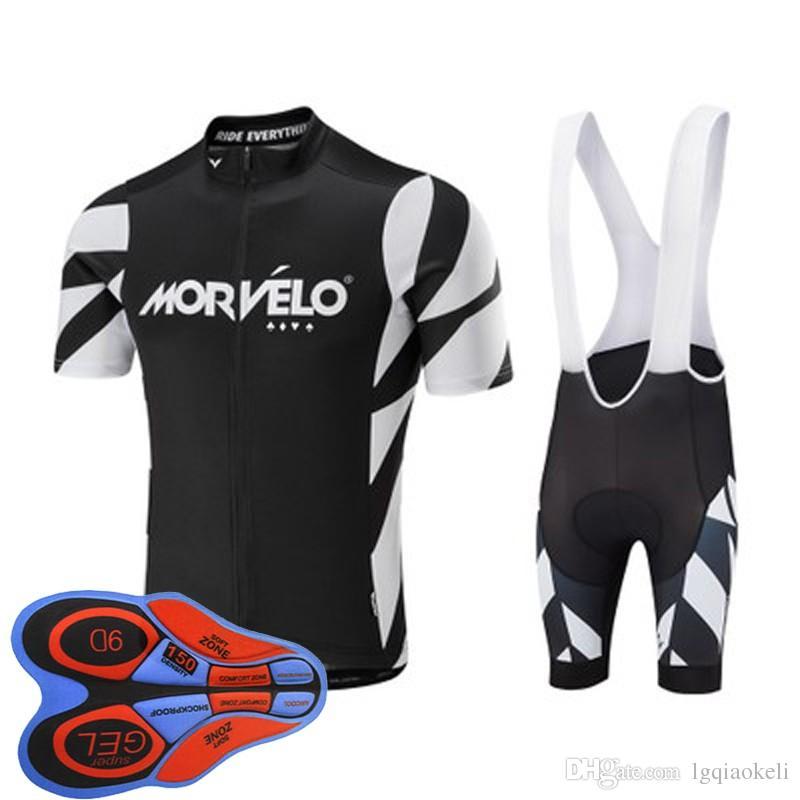 2018 Morvelo Cycling Maglie maniche corte kit abbigliamento ciclismo con pantaloncini imbottiti in gel 9C Hombre Racing Mtb Bike Sport Quick Dry D1784