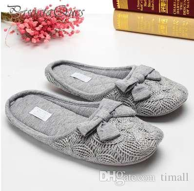 Cute Bowtie Warm Winter Women Home Slippers For Indoor Bedroom House Soft Bottom Shoes Adult Gusets Flats Christmas Gift