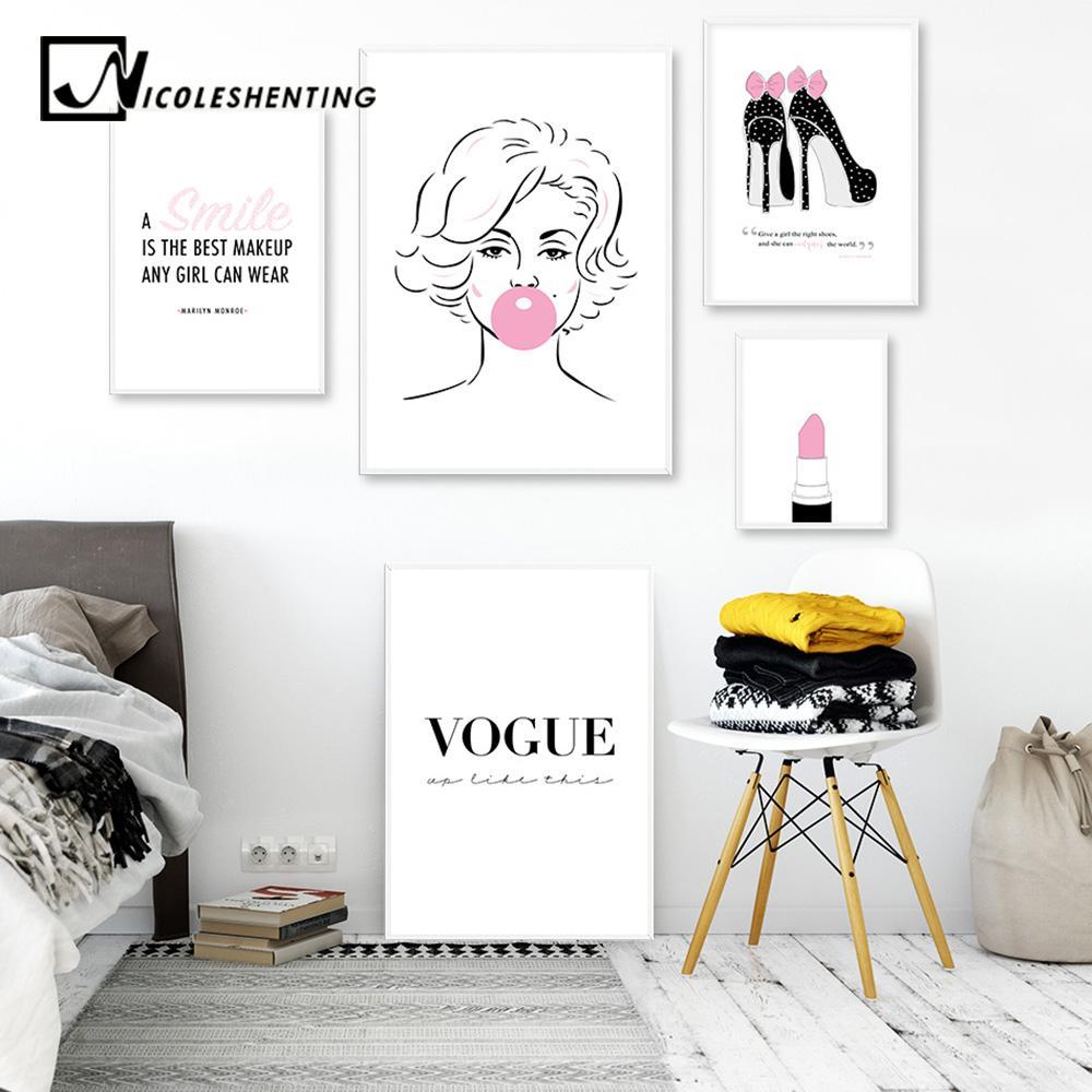 2019 Marilyn Monroe Lipstick Lashes Fashion Art Canvas Painting Pink