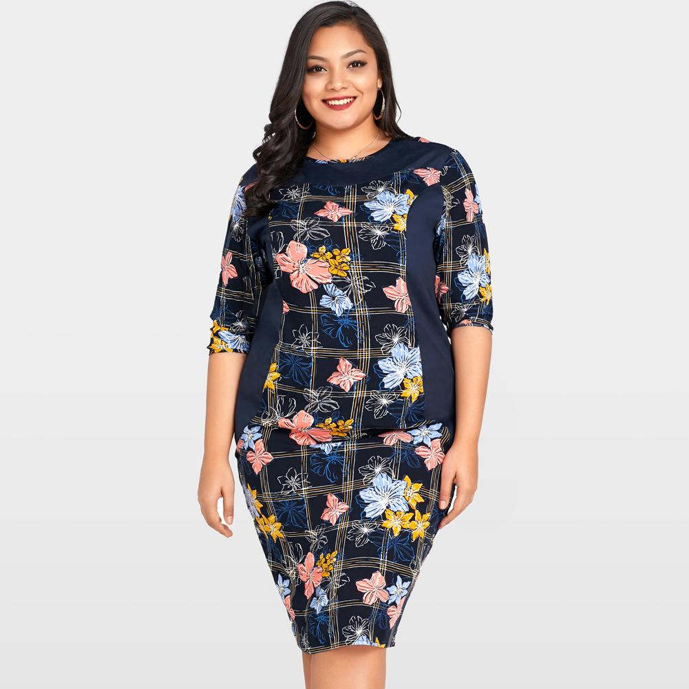 a8a02304ff0 Women Plus Size Summer Dress Floral Print Midi Bodycon Dress Half Sleeve O  Neck Casual Knee Length Oversized Dress Dark Blue Long Dress Women Long  Sleeve ...