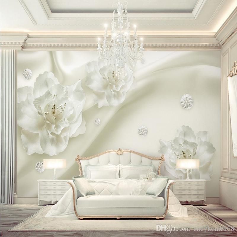 Personalizzato qualsiasi formato 3D murales carta da parati fiore di seta stile europeo 3D TV sfondo grande muro dipinto soggiorno murale carta
