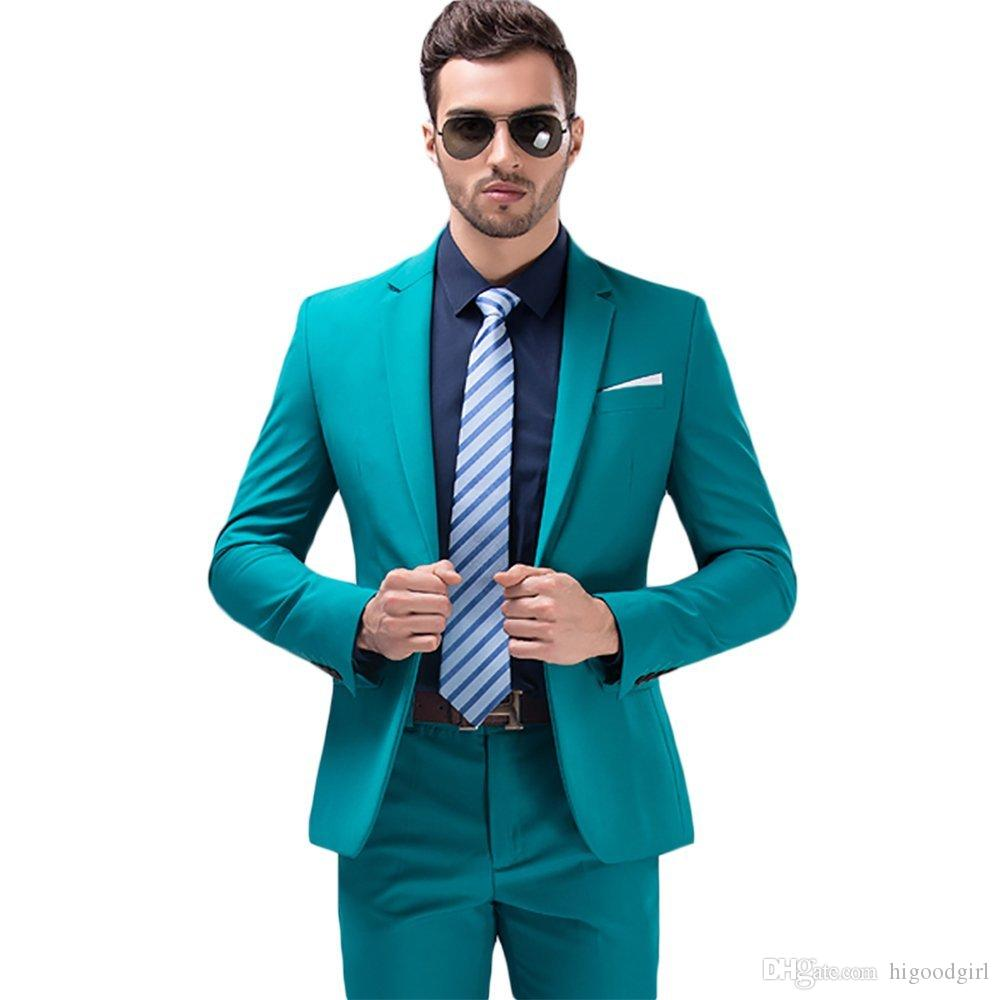 Green Wedding Groom Tuxedos Men Suits Custom Made Formal Suit For ...