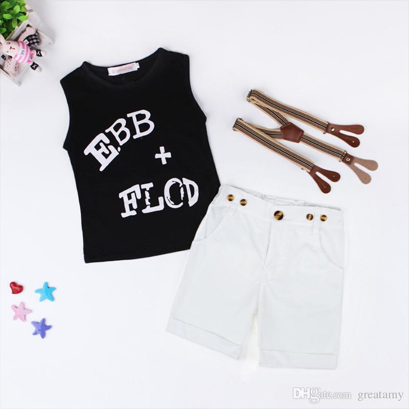 New Baby Boys Clothing Sets Letter Printing Vest T-shirt+Suspender shorts kids clothes sets Children Boy Formal Suit