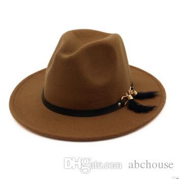 Acquista 2018 New Fashion TOP Cappelli Uomo Donna Elegante Moda Solid  Feltro Fedora Hat Band Wide Flat Brim Jazz Cappelli Elegante Trilby Panama  Caps A ... a956bc9c7ee6