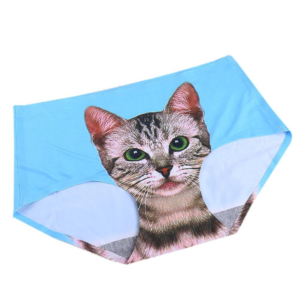 New Fashion Ladies Pussy Cotton Cat Panties Briefs Screen Printed Apparel Undies JL