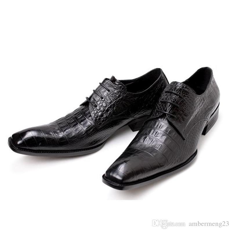 45362c8690904 Satın Al Tasarımcı Oxfords Elbise Ayakkabı Deri Timsah Dantel Kare İngiliz  Şımarık Erkek Ayakkabı Parti Düğün EUR 45 46 Büyük Boy Adam Rahat Flats  Ayakkabı, ...