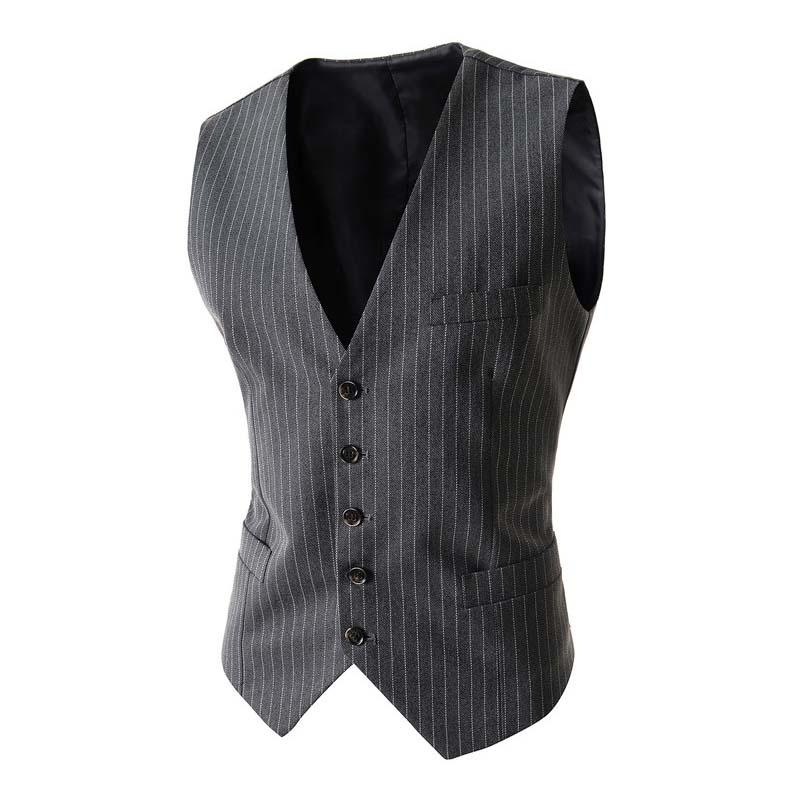 19d6461e5cc6 2019 Men Suits Vest Stripped V Neck Single Breasted Waistcoat Colete Casual  Slim Dress Vest M 2XL From Burtom, $32.33 | DHgate.Com