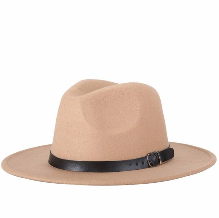 Unisex Trim Stylish Jazz Hats Wool Felt Hat With PU Bands Fedora Wide Brim Caps Classic Solid Trilby Cap