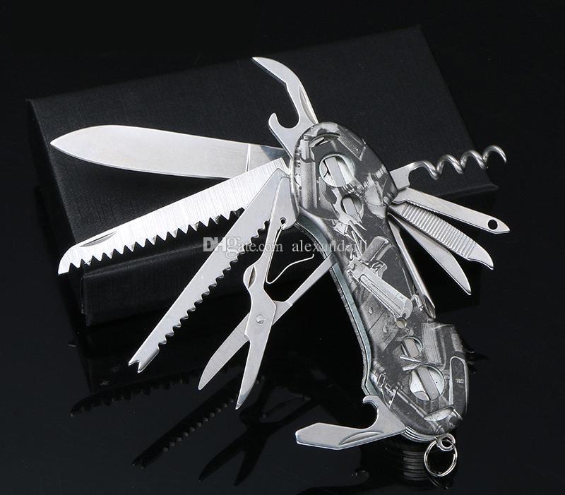 Coltello svizzero di alta qualità Manico in acciaio inossidabile Coltello multifunzione Outdoor Tactical Army Army Tools Coltelli da tasca pieghevoli da caccia