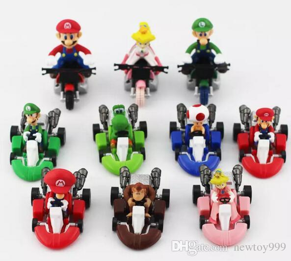 Süper Mario Bros Kart Geri Çekin Araba şekil Oyuncak 10 adet / takım Mario Kardeş Geri Çekilme Arabalar Bebekler