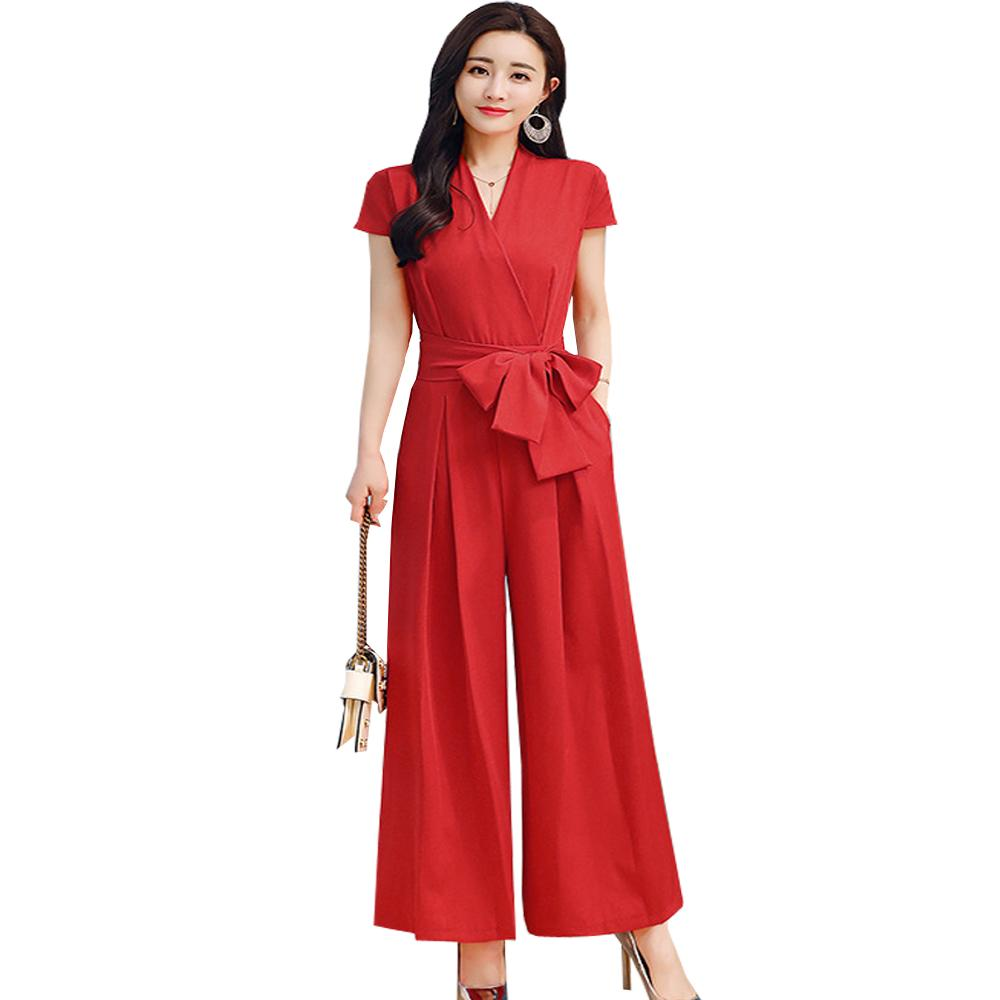 94c1aa47c46 2019 2018 Spring Summer Wide Leg Jumpsuit Women Sashes Slim Thin Jumpsuits  Rompers Officewear Pocket V Neck Red Black Female Romper From Beimu
