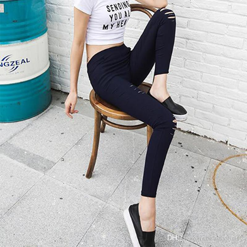 Woman Jeans Ripped Denim Pants Holes in knees Skinny sexy Bottom Women Slim Trousers Summer leggins Cotton dropshipping