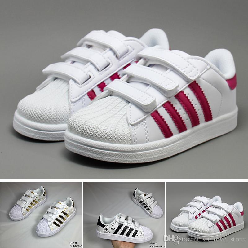 Originals Superestrellas Zapatillas Original Oro Adidas Blanco 2018 Superestrella Bebé Super Niños Casuales Zapatos Estrellas Niñas vNnym0P8wO