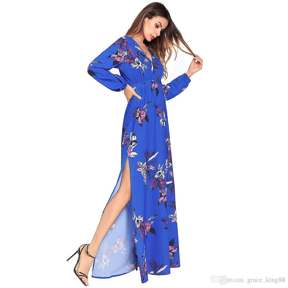 Novo estilo de qualidade superior das mulheres chiffon dress vermelho manga longa com decote em v moda elegante impressão longo bohemia dress maxi sexy dress s m l xl 2xl