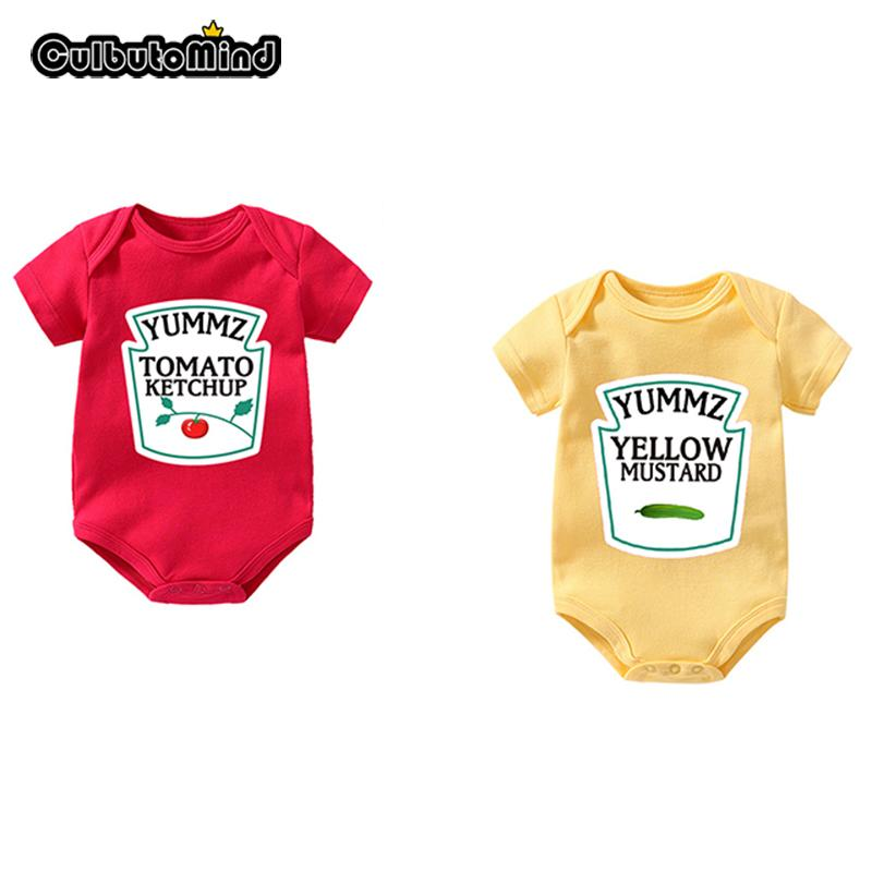 5ad53f21c1183 Culbutomind Yummz Tomato Ketchup Yellow Mustard Red and Yellow Bodysuit  Baby Boy Twins Baby Clothes Twins Baby Boys Girls Y18102008
