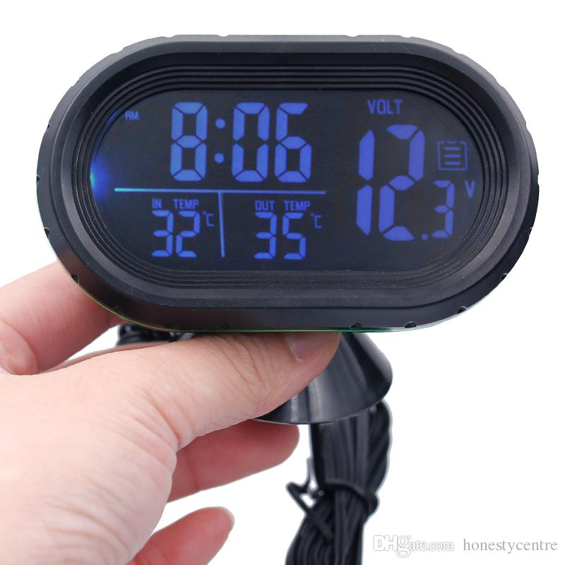 DC12V -24V 4 시간 날짜 이중 온도 자동 디지털 자동차 온도계 전압계 모니터 빛나는 시계 동결 경고