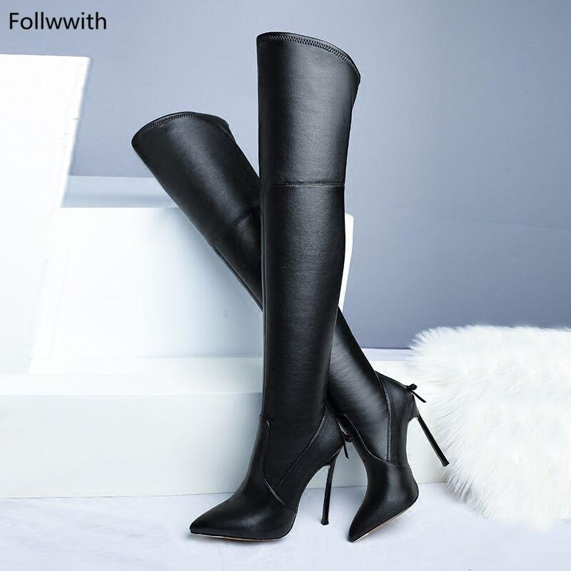 922aaee22b3c67 Metallic Stiletto High Heels Black Soft Stretch Leather Pointy Toe Cute Bow  Back Zapatos Mujer 2018 Autumn Winter Women Boots Ankle Booties Combat Boots  For ...