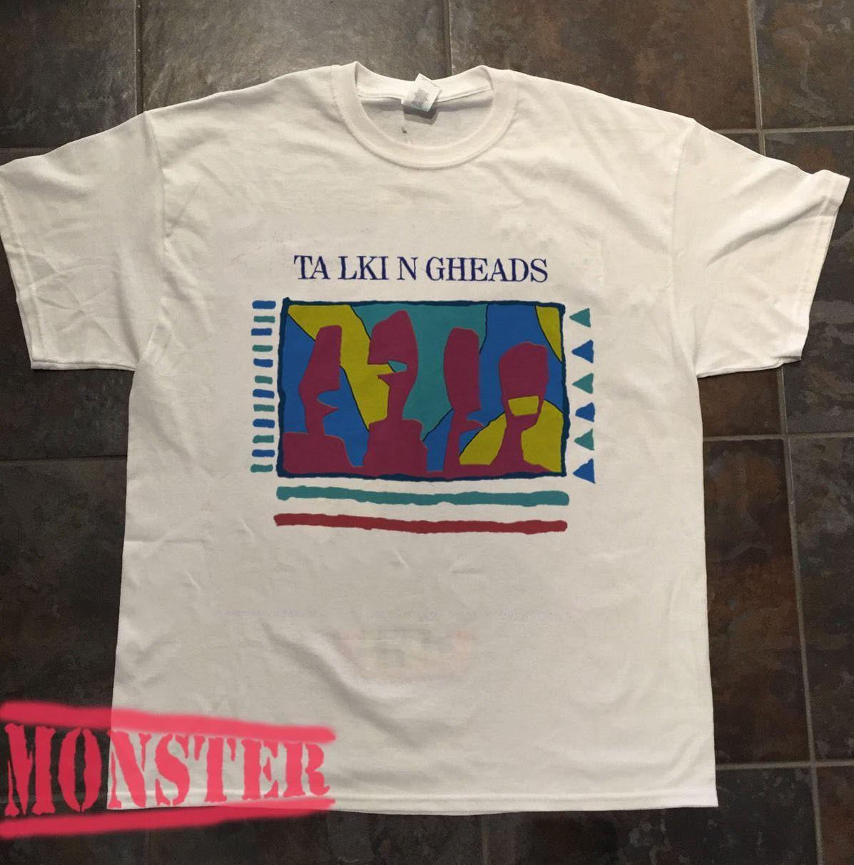 Clothing Shirt Vintage Men's Tees T Talking White Heads 80's HIED29