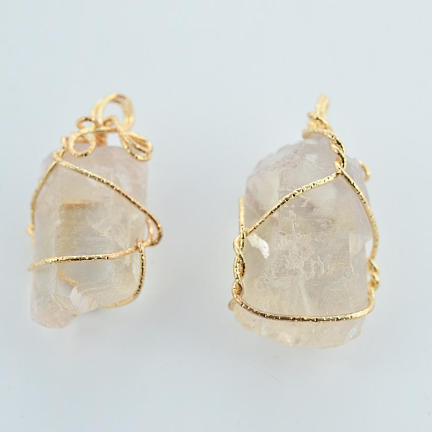 Bella natura pendenti in pietra ametista al quarzo rosa quarzo bianco cristallo limone cristallo cristallo fluorite fascino pietra collana